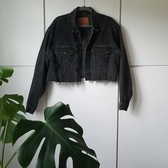 Levi's oversize cropped black denim jacket